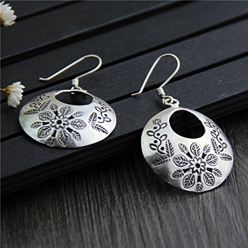 Hill Tribe Silver Dangle - Sterling Silver Round Disc Dangle Earrings with Hand Stamped Flowers, Karen Hill Tribe Silver Earrings,Boho Earrings