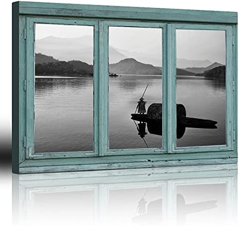 Vintage Teal Window Looking Out Into a Black and White Boat on a Lake with a Mountain View