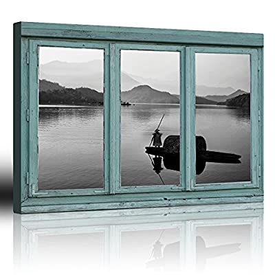 Vintage Teal Window Looking Out Into a Black...