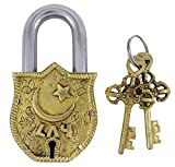 Gold Tone Brass Metal Religious Chand Tara Design Padlock Home Décor Locks With 2 Keys