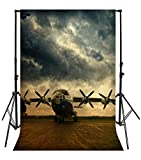 Yeele 6.5x10ft Vintage Military Plane Photo Backdrops Vinyl Mottled Old Aircraft Pilot Airplanes Fuselage World War II History Photography Background Adult Baby Portrait Photo Booth Shoot Props