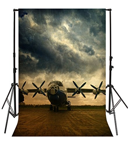 Yeele 8x10ft Vintage Military Plane Photo Backdrops Vinyl Mottled Old Aircraft Pilot Airplanes Fuselage World War II History Photography Background Adult Baby Portrait Photo Booth Shoot Props