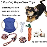 vmree Pet Bite Toys, 5 Pcs Pet Chew Toy Nuts Knots Ball Flyer Dog Cotton Rope Clean Teeth Toys (Mulitcolor)