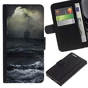 EJOY---La carpeta del tirón la caja de cuero de alta calidad de la PU Caso protector / Apple Iphone 6 PLUS 5.5 / --Ocean Waves tormenta Vela Barco Piratas