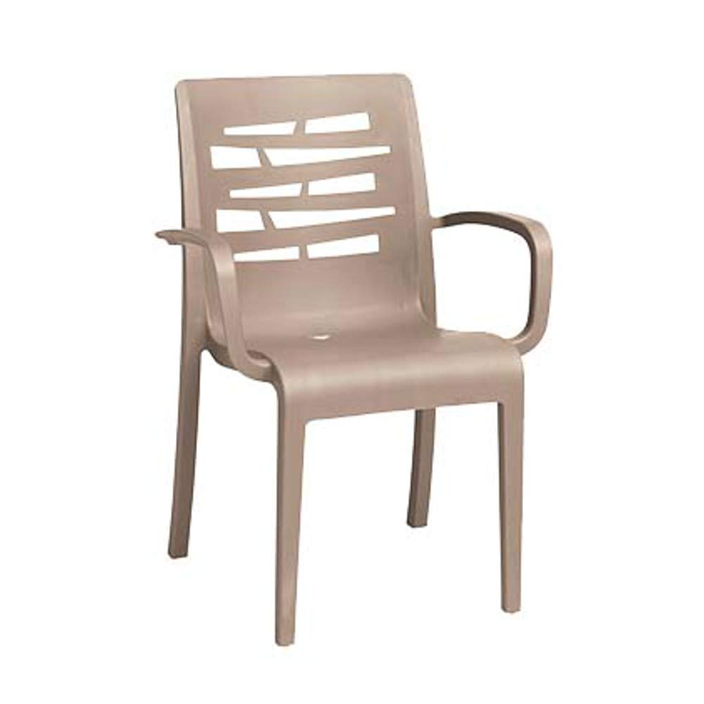 Grosfillex US118181 Essenza Stacking Armchair, Taupe (Case of 16)