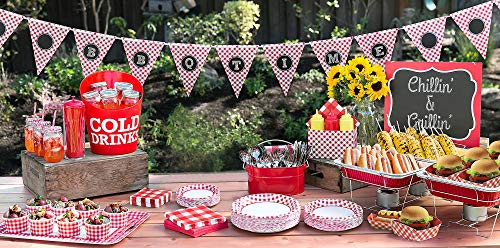 Party City Gingham BBQ Party Supplies, Include Plates, Napkins, Straws, Banner, Basket Liners, Serving Pieces, and More]()