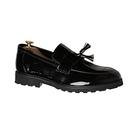 ZHRUI Zapatos de Boda para Hombre Mocasines de Charol Negro Slip-on Transpirables Transpirables Oxford