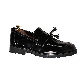 ZHRUI Zapatos de Boda para Hombre Mocasines de Charol Negro Slip-on Transpirables Transpirables Oxford de Negocios Informal (Color : Negro, tamaño : 9 UK): ...