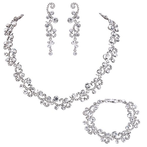 Crystal Rhinestone Necklaces Earrings Bracelets (EVER FAITH Women's Austrian Crystal Wedding Flower Wave Necklace Earrings Bracelet Set Clear Silver-Tone)