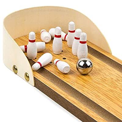 Toysery Wooden Mini Bowling Game - Premium Material, Safe for Kids - Best Indoor Game Ages - Easy to Set Up - Great Gift Idea : Sports & Outdoors