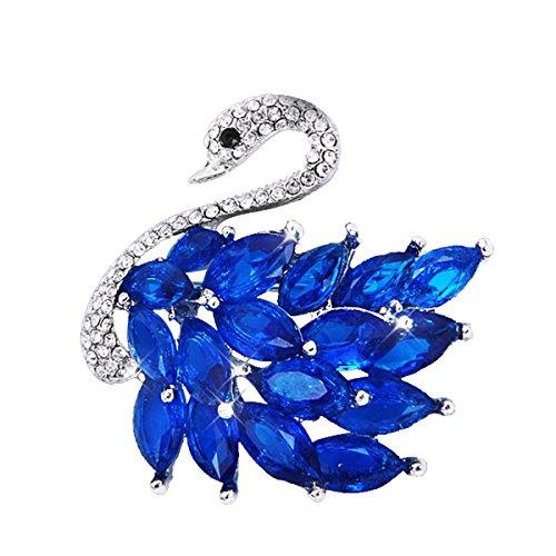 Classic Multilayer 3D Swan Plated Elegant Crystal Swan Rhinestone Brooch Pin Jewelry (Crystal Blue Swan)