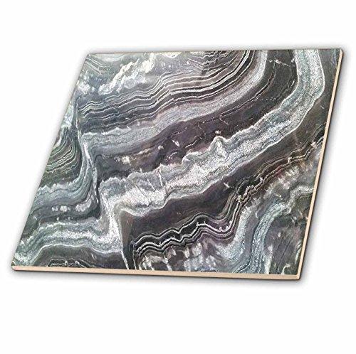 3D Rose Image of Rivers of Maroon and Gray Granite Ceramic Tile, Multicolor