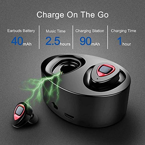 - WOWOGO True Wireless Headphones Bluetooth Headphones Sweatproof Sport Earbuds in-Ear Noise Cancelling Earphone with Built-in Mic and Charging Station for iPhone iPad Samsung (K5-red)