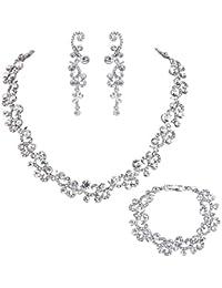 Bridal Flower Wave Austrian Crystal Dangle Earrings