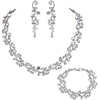 EVER FAITH Women's Austrian Crystal Wedding Flower Wave Necklace Earrings Bracelet Set Clear Silver-Tone