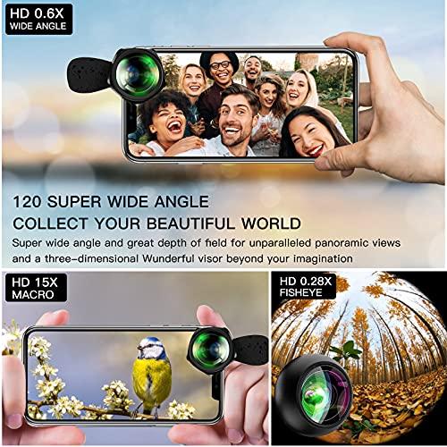 Conception De Lignes Ondulées Objectifs De Caméra De Téléphone HD-Objectifs avec 0.6X Super Grand Angle + 15X Macro + Objectif Fisheye 0.28X Compatible avec iPhone,Samsung Huawei iPad etc (Noir)