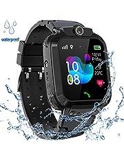 GPS Horloge voor Kinderen, IP68 Waterdichte 2G Kinderen Smart Horloge Compatibel met IOS Android, met GPS Tracker, SOS, Alarm, voor Perfect Verjaardag Jongens Meisjes Geschenk,S12 zwart