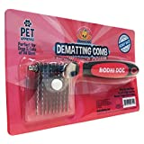 Professional Dematting Comb and Remover | Cut and Removes Knots & Tangled Mat Hair and Fur on Cats and Dogs | Pet Grooming Right & Left Handed | Rubber Grip Tool with Stainless Cutting Blades