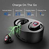 WOWOGO True Wireless Headphones Bluetooth Headphones Sweatproof Sport Earbuds in-Ear Noise Cancelling Earphone with Built-in Mic and Charging Station for iPhone iPad Samsung (K5-red)