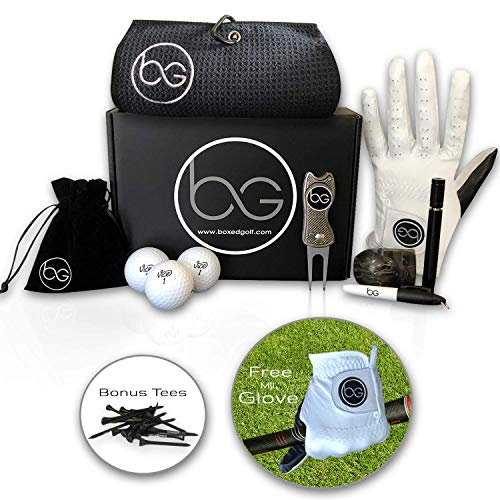 (Boxed Golf Premium Golf Gifts for Men & Women Best Personal Gift Box | Complete Golfing Set with Accessories - Unique Gift Baskets Idea for Golfers Birthdays - Great Fathers)