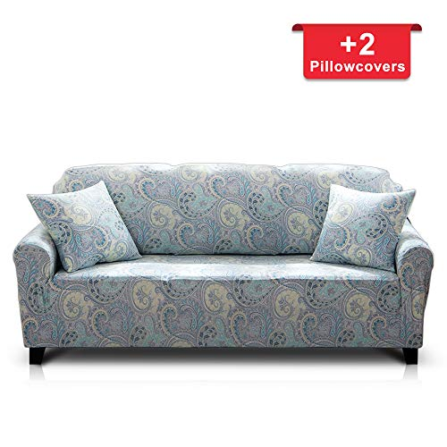 - Hipinger Spandex Fabric Stretch Couch Cover Sofa Slipcover Stylish Furniture Protector for 3 Cushion Couch (3 Seater, Paisley)