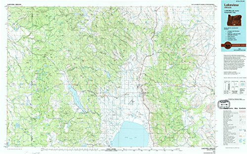 Lakeview OR topo map, 1:100000 scale, 30 X 60 Minute, Historical, 1975, updated 1994, 24.1 x 38.6 IN - Paper