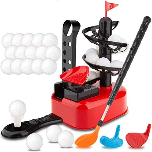Junior Golfer Deluxe Kids Golf Trainer Automatic Tee Machine Toy Play Set with 15 Balls, Golf Club and 3 Heads | Indoor Exercise Practice Swing | Outdoor Yard Active Lawn Activity Training Equipment