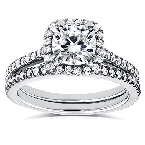 (Forever One D-F Moissanite and Diamond Halo Cathedral Bridal Set 1 1/2 CTW in 14K White Gold, Size 7, White Gold)