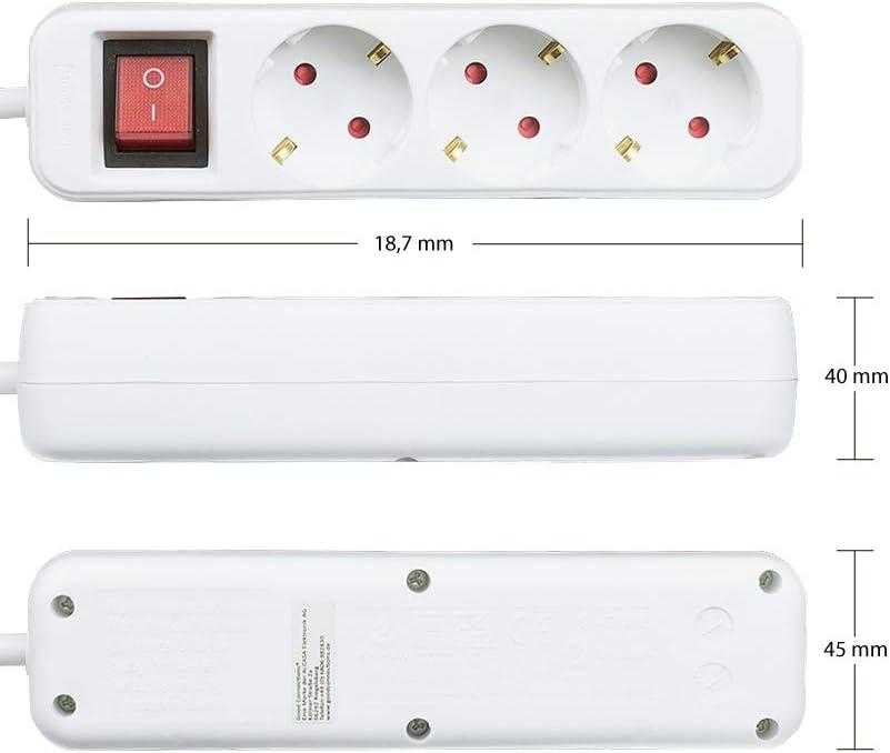 C/âble dalimentation de 1,5 m Multiprise avec Interrupteur 6 Prises Fiche de Contact de Protection vers 6 Prises de Contact de Protection Blanc Lot de 3 s/écurit/é Enfant Multiprise
