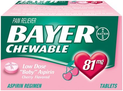 Bayer Chewable Low Dose Aspirin Tablets 81 mg-Cherry-36 ct. (Pack of 6) by Bayer
