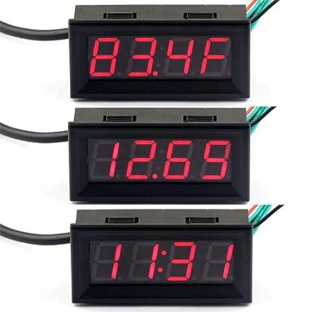 deok 0 56 dc 12v digital auto clock thermometer voltmeter car rh amazon co uk