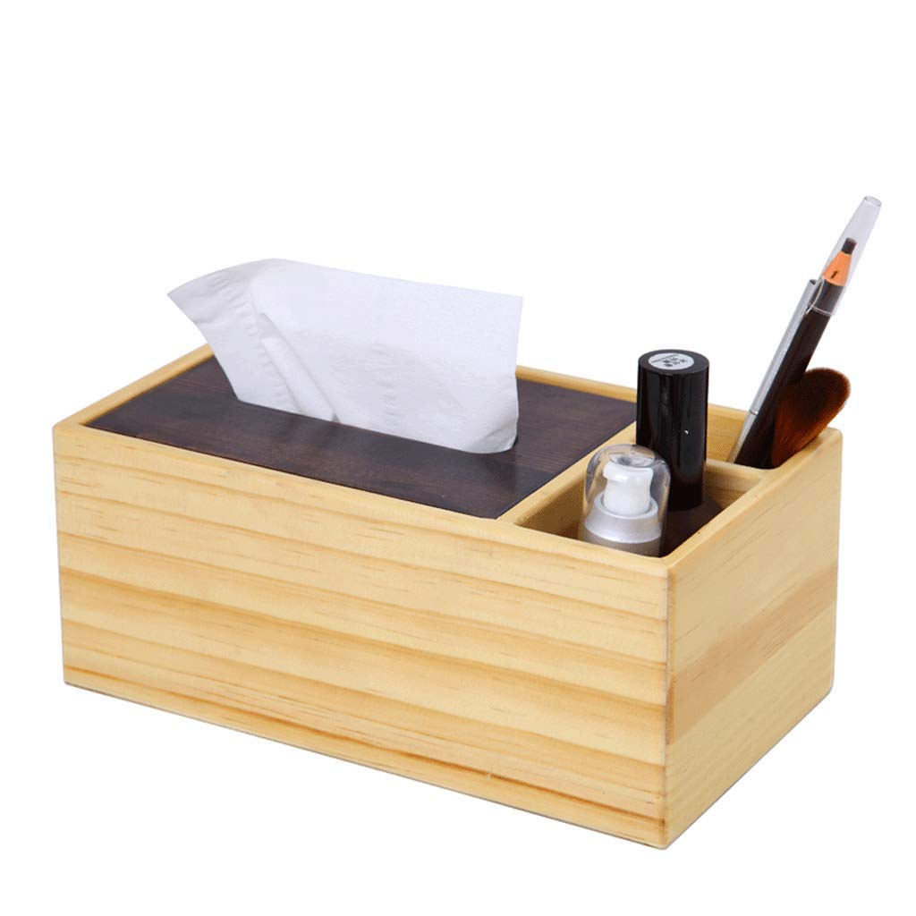 ZYN Solid Wood Multifunction Tissue Box- Remote Control Storage Box Tray Coffee Table Desktop Living Room