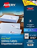 "Avery Address Labels with Easy Peel for Inkjet Printers, 1-3/4"" x 1/2"", White, Rectangle, 2000 Labels, Permanent (67933081674) Made in Canada"