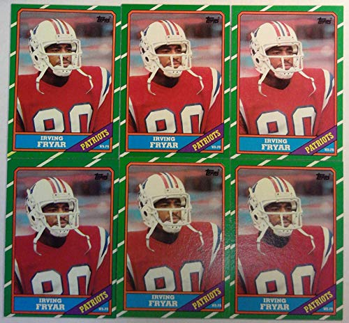 - Topps 1986 Irving Fryar Patriots Wide Receiver NFL Football Cards # 34 Lot of 6
