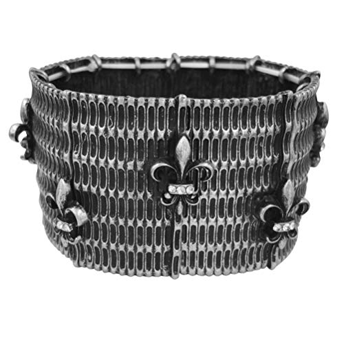 Gypsy Jewels Fleur De Lis Silver Tone & Gun Metal Designer Look Hammered Stretch Bracelet (Basketweave Silver Tone)