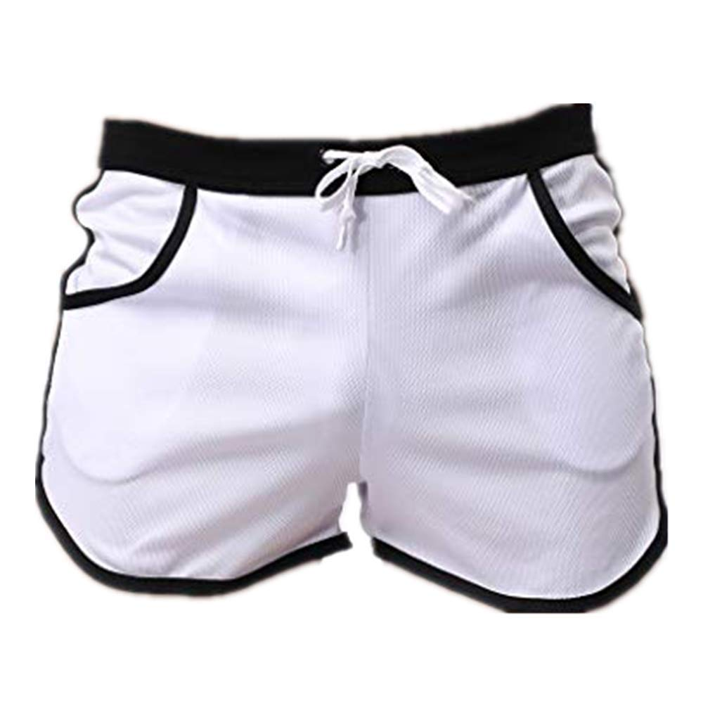 NUWFOR Men's Summer Fashion Simple Sports Fitness Shorts Home Beach Trousers(White,US:S Waist26.0-29.9'')