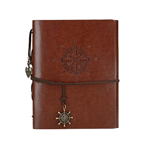 DIY Scrapbook Photo Album Handmade Leather Memory Book 60 Pages for Baby Anniversary Birthday Wedding Travel Graduation Picture (Large Brown Compass) (Handmade Album)