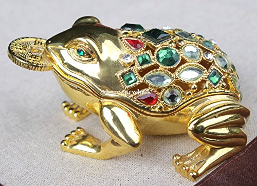 Gold Frog Jewelled Trinket Box Jewelry Box with Inlaid Crystal Toad Money Frog Symbol of Prosperity in Feng Shui(Random (Prosperity Frog)