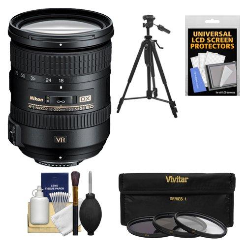 Nikon 18-200mm f/3.5-5.6G VR II DX ED AF-S Nikkor-Zoom Lens with 3 UV/FLD/CPL Filters + Tripod Kit for D3200, D3300, D5300, D5500, D7100, D7200 Camera