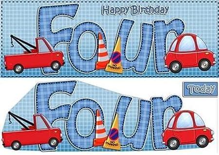 Grande DL 4th cumpleaños Cars Tarjeta y 3d Decoupage por ...