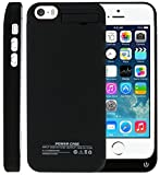 Sykiila iphone SE 5 5S 5C Battery Case 2200 mAh Universal Rechargeable Backup Portable Charger External Power Pack for iphone SE 5 5S 5C with Kickstand Support Short Circuit Protection Black
