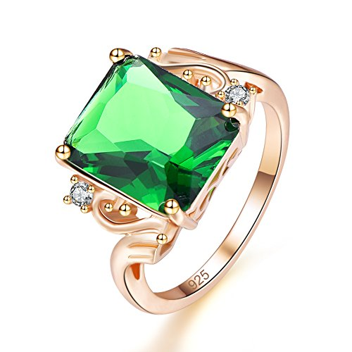 Psiroy Yellow Gold Plated Created Emerald Quartz Promise Ring for Her Size ()