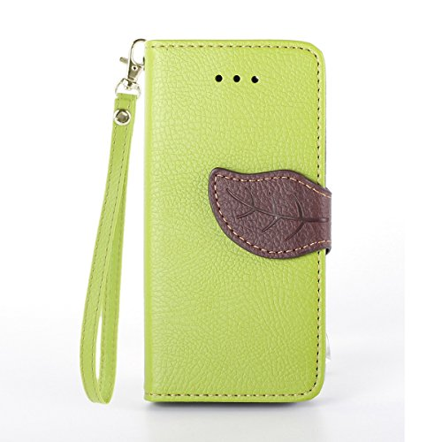 Schutzhülle iPhone 5C , LH Grün Blätter PU Leder Portemonnaie Hülle Case Cover Wallet Flip Kasten Abdeckung Magnetischer Fall Schale Tasche für Apple iPhone 5C