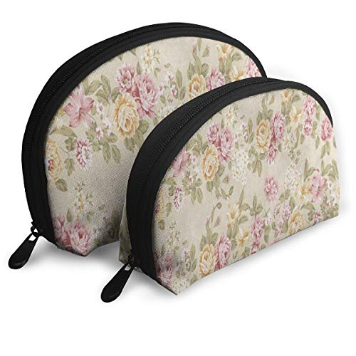 Makeup Bag Shabby Chic Floral Portable Shell Storage Bag For Girls Halloween Gift Pack - 2 -