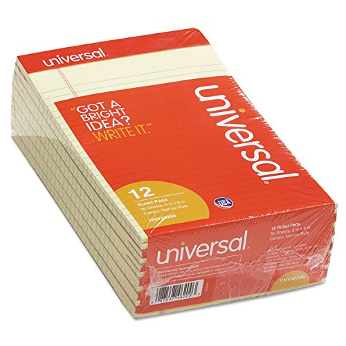 Universal 46200 Perforated Edge Writing Pad, Narrow Rule, 5 x 8, Canary, 50 Sheet (Pack of 12)