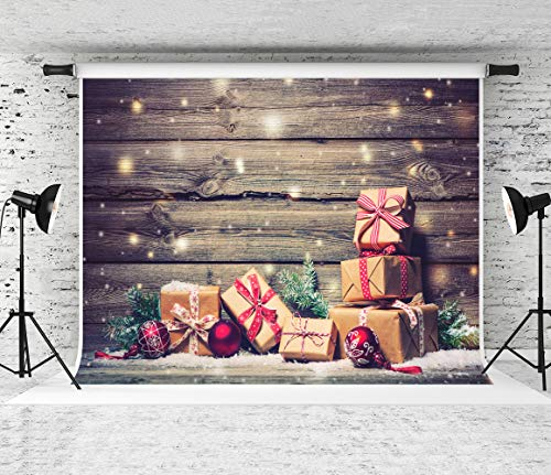 Kate 8x8ft Christmas Backdrop Brown Wooden Board Photography Background Glitter Snow Photo Backdrop