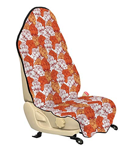 Ambesonne Orange and White Car Seat Cover, Vintage Style Rich Peony Field Pattern Rustic and Pure Nature Theme, Car and Truck Seat Cover Protector with Nonslip Backing Universal Fit, Ruby Orange White
