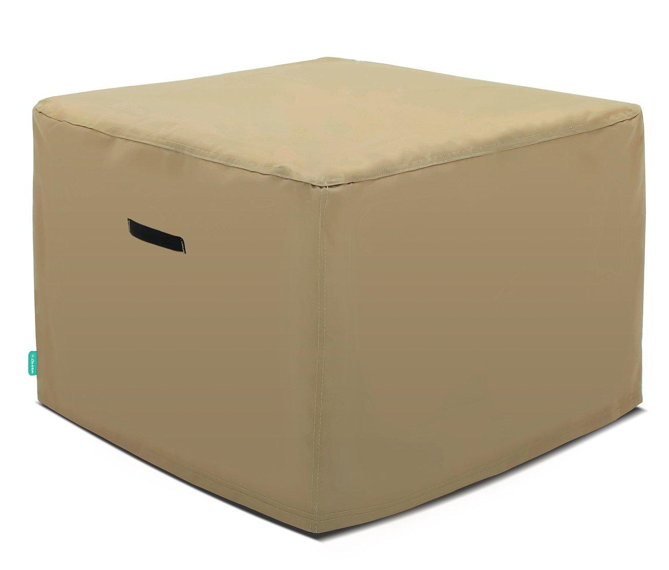 Tarra Home Universal Outdoor Patio Square Table Cover, 38'' W x 38'' D x 30'' H, Presidium Tan
