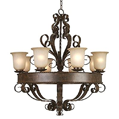 Y Decor L93938-8FGS Modern, Transitional, Traditional 8 Light Oil Rubbed Bronze Chandelier with Soft Allure Alabaster Glass, , Brown