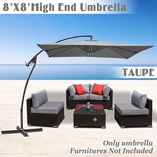 STRONG CAMEL 8' x 8' Cantilever Banana Umbrella Patio Offset Parasol Garden Outdoor Sunshade Hanging Market---360'C Rotational Function (Taupe)